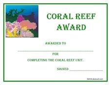 Coral Reef Award Worksheet