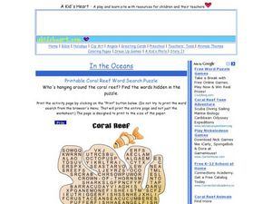 Coral Reef Word Search Worksheet