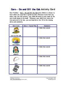 Corn - On and Off the Cob: Activity Card Worksheet
