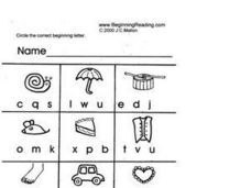 Correct Beginning Letter Lesson Plan