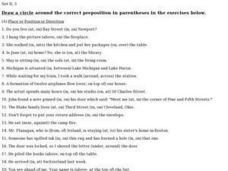 Correct Prepositions: Place or Position or Direction Worksheet