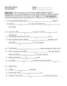Correct Verb Forms- Time Expressions Worksheet