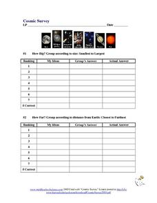Cosmic Survey Worksheet