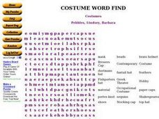 Costumes Worksheet