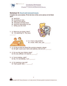 Count and Noncount Nouns Worksheet
