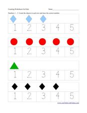 Count and Trace: 1-5 Worksheet