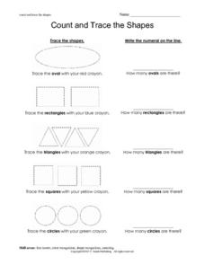 Count and Trace the Shapes Worksheet