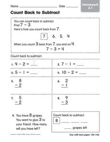 Count Back to Subtract: Homework Worksheet