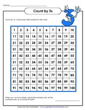 Count by 3's Worksheet