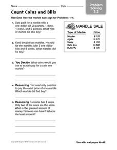 Count Coins and Bills Worksheet