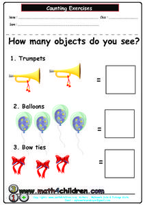 Count Objects, 1-4 Worksheet
