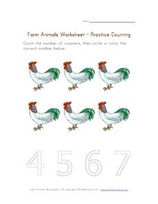 Count the Roosters Worksheet