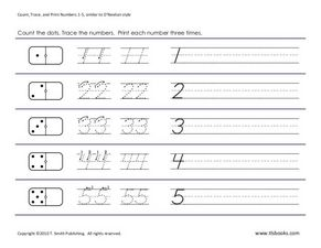 Count, Trace, and Print Numbers 1 to 20 Worksheet