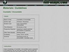 Countable / Uncountable Lesson Plan