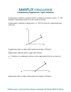 Countdown Challenge: Complimentary/Supplementary Angles Worksheet