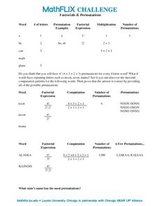 Countdown Challenge: Factorials and Permutations Worksheet