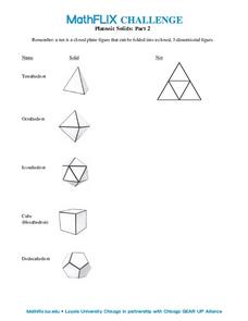 Countdown Challenge: Platonic Solids - Part II Worksheet