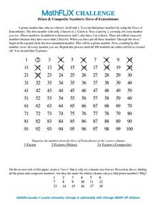 Countdown Challenge: Prime & Composite Numbers: Sieve of Eratosthenes Worksheet