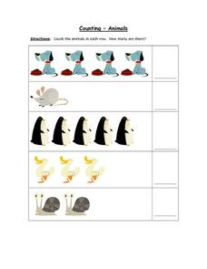 Counting- Animals (Up to 5) Worksheet