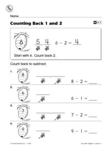 Counting Back 1 and 2 Worksheet