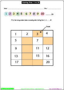 Counting from 1-20, #2 Worksheet