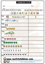 Counting from 1 to 10 Worksheet