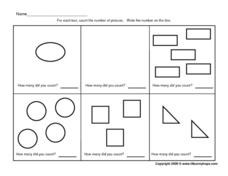 Counting Geometric Shapes - 0-5 Worksheet