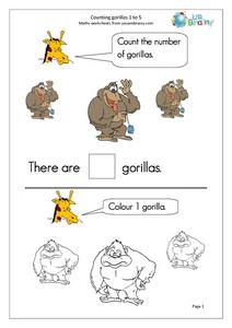 Counting Gorillas 1 to 5 Worksheet