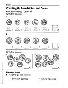 Counting On from Nickels and Dimes Worksheet