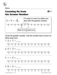 Counting On From the Greater Number Worksheet