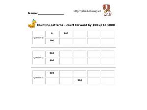 Counting Patterns - Count Forward By 100 Up To 1000 Worksheet