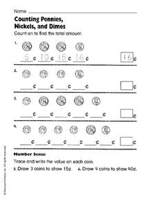 Counting Pennies, Nickels and Dimes Worksheet