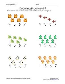 Counting Practice 4-7 Worksheet
