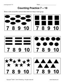 Counting Practice 7 - 10 Worksheet