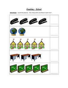 Counting - School (Color Pictures) Worksheet