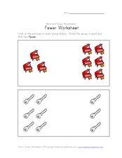 Counting Shapes: Identifying Fewer Objects Worksheet