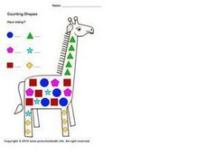 Counting Shapes On a Giraffe Worksheet