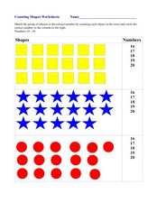 Counting Shapes Worksheets (Numbers 16-20) Worksheet