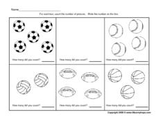 Counting Sports Balls - 0 - 5 Worksheet