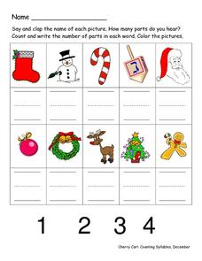 Counting Syllables in Words Worksheet