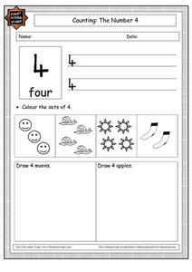Counting: The Number 4 Worksheet