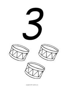 Counting Three, Drums Worksheet