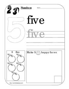 Counting Worksheet: Number 5 Worksheet