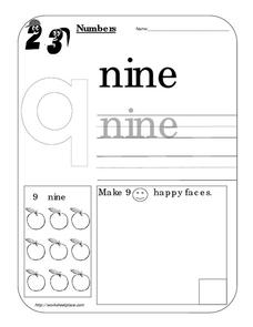 Counting Worksheet: Number Nine Worksheet