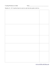 Counting Worksheets for Kids: Numbers 16-20 Worksheet