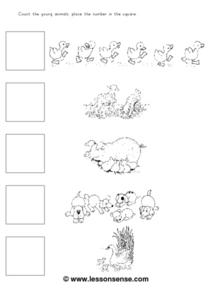 Counting Young Animals Worksheet