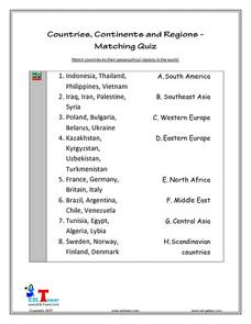 Countries, Continents, and Regions - Matching Quiz Lesson Plan