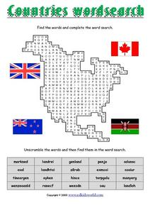 Countries Word Search Worksheet