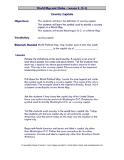 Country Capitals Lesson Plan
