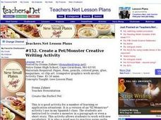 Create a Pet/Monster Creative Writing Activity Lesson Plan